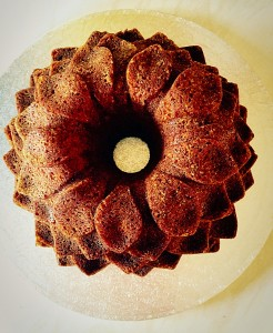 Lime Coconut Blossom Bundt Cake place the cake on a board or cake stand.