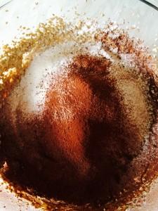 Sieve the flour, cocoa and salt into the bowl.
