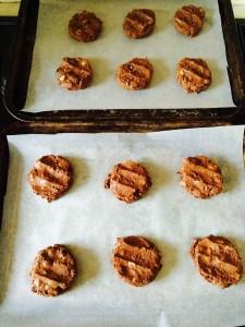 Press down on each cookie dough ball to flatten.