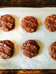 Macadamia Nutty Chocotastic Cookies allow to cool completely on the tray.