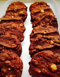 Macadamia Nutty Chocotastic Cookies www.feastingisfun.com