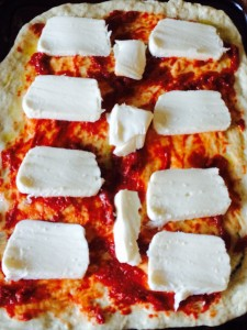 Add the cheese of your choice - here I've used mozzarella cheese, that's been sliced.