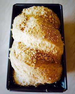 Oat Bran White Bread risen and ready for the oven www.feastingisfun.com