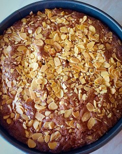 Once the cake is baked, remove from the oven and allow to cool completely in the tin.