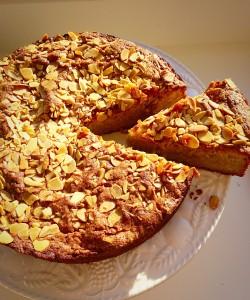 Autumn Apple Almond Cake serve yourself a delicious slice! www.feastingisfun.com