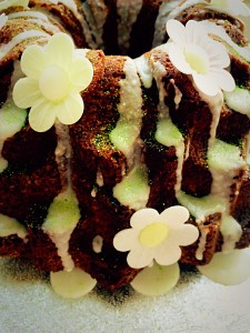 Lime Coconut Blossom Bundt Cake the lime drizzle perfectly compliments the coconut based cake www.feastingisfun.com