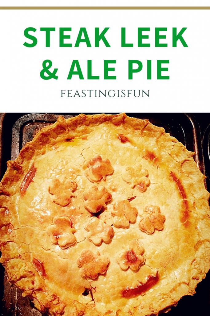 Steak Leek And Ale Pie sized for Pinterest with descriptive graphics.