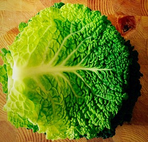 Remove 5 leaves from the cabbage and stack them.