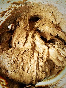 Delicious, moist, chocolate cake batter.