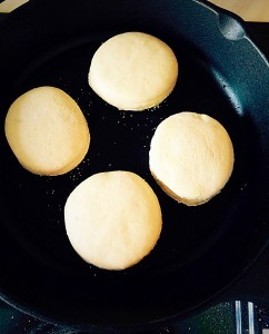 Place the discs onto a preheated skillet/griddle.