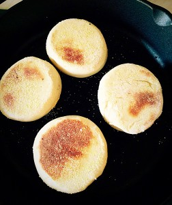English Muffins cook for 5 minutes and then flip over.