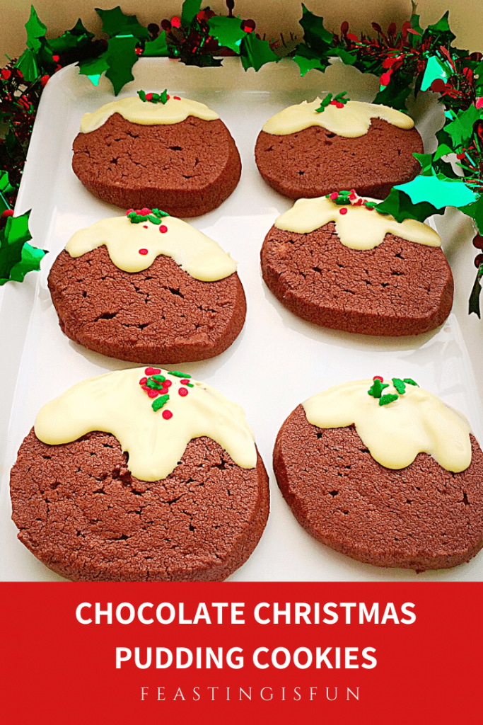 Festive cocoa flavoured biscuits that resemble a traditional Christmas dessert on a white plate. Image sized for Pinterest with descriptive graphics.