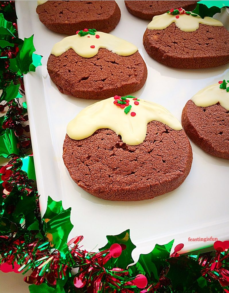 A plate of festive cocoa biscuits.