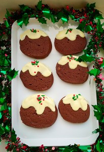 Chocolate Christmas Pudding Cookies utterly delicious Christmas treats. www.feastingisfun.com