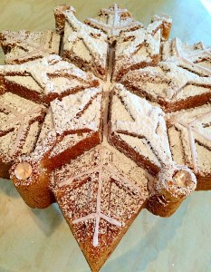 Sparkling Snowflake Cake vanilla sponge dusted with flavoured icing sugar www.feastingisfun.com