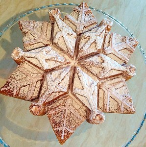 Sparkling Snowflake Cake catches the light and sparkles like a real snowflake www.feastingisfun.com