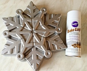 Snowflake Bundt tin and cake release spray.