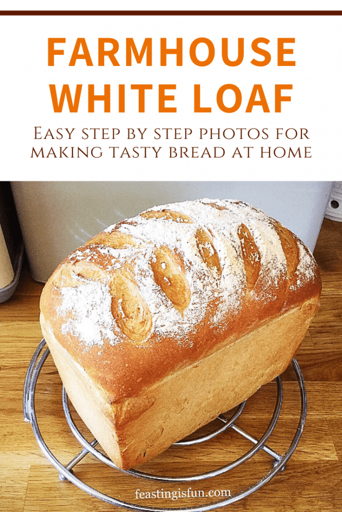 Freshly baked white bread with descriptive graphics.