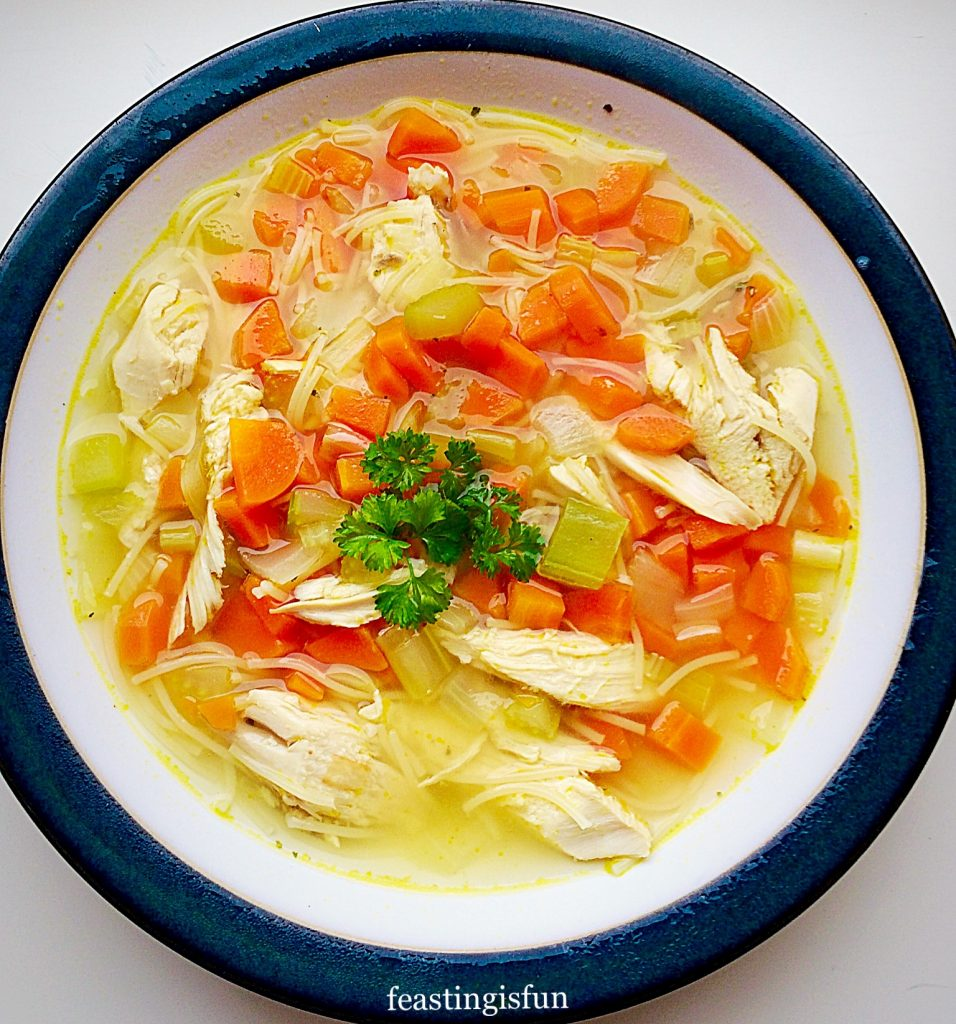 A bowl of soup made using roast dinner leftovers.