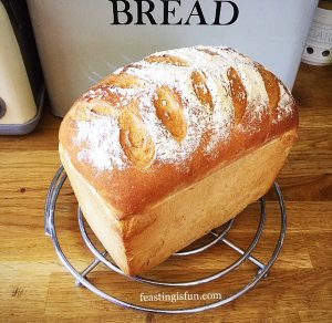 Farmhouse style white bread loaf.