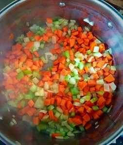 Add the diced onion, carrots and celery to the pan.