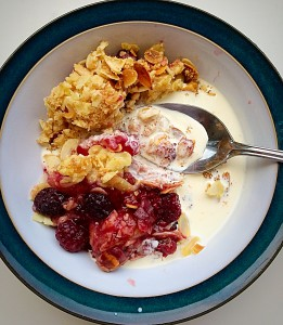 Almond Blackberry Pear Crumble pour over the cream and tuck in! www.feastingisfun.com