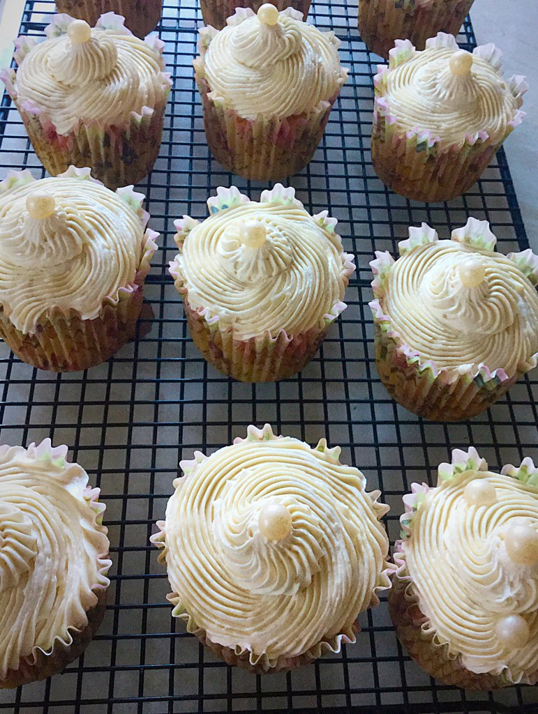 Vanilla Bean Cupcakes an edible pearl provides the finishing touch to these edible treats.