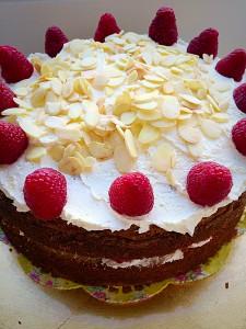 Raspberry Almond Cream Cake I wish I had a slice of this now www.feastingisfun.com