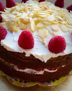 Raspberry Almond Cream Cake moist, fruity cake www.feastingisfun.com
