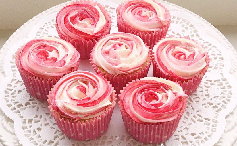 Raspberry Ripple Almond Cupcakes