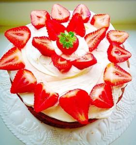 Strawberries Cherry Almond Sandwich Cake