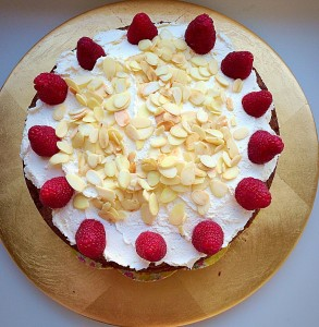 Raspberry Cherry Almond Cream Cake