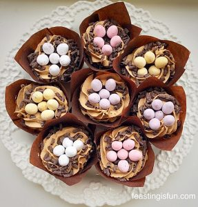 FF Vanilla Mini Egg Nest Cupcakes