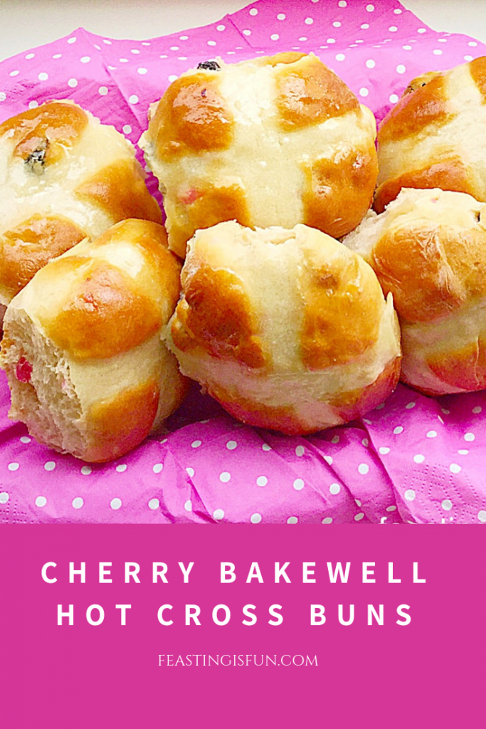 FF Cherry Bakewell Hot Cross Buns