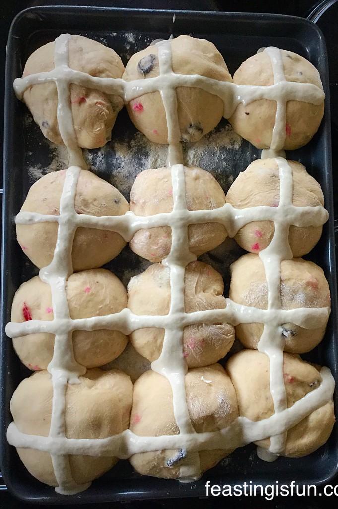 W Cherry Bakewell Hot Cross Buns
