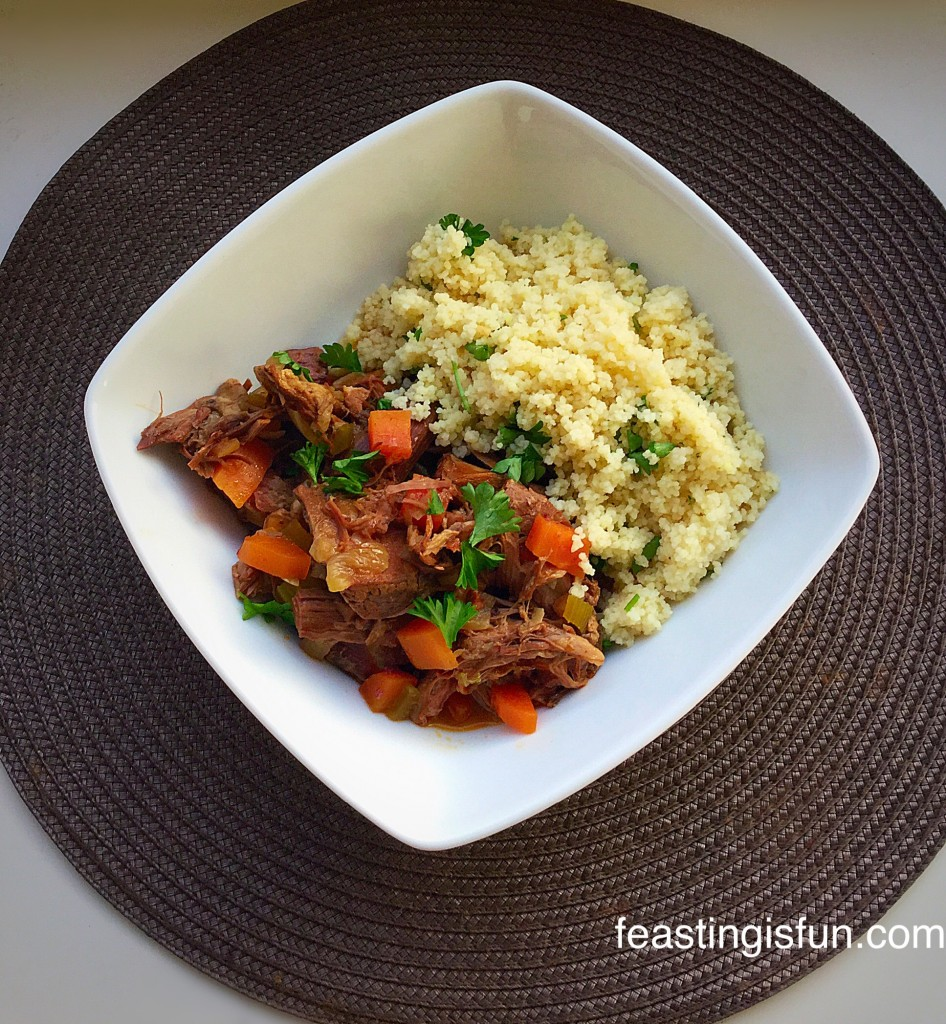 Morrocan Lamb Stew flavored with middle eastern spices.