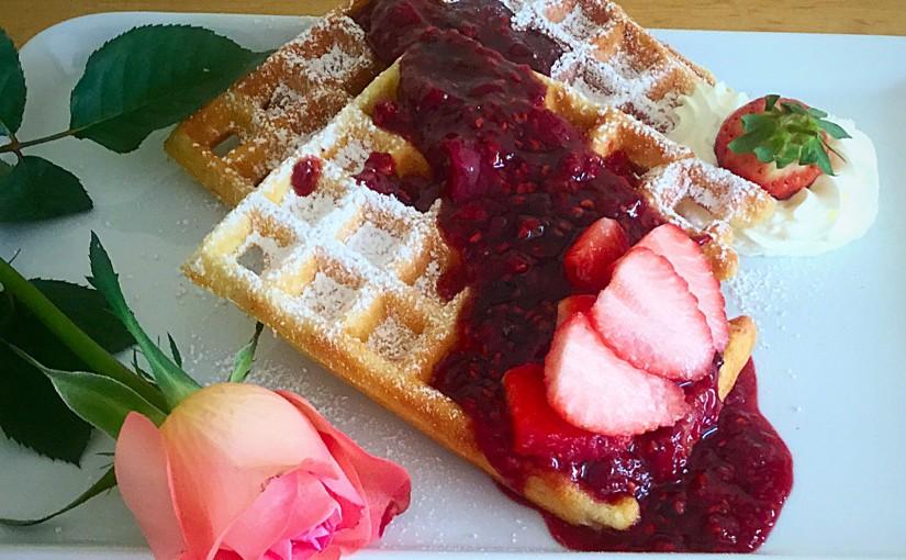 Waffles Boozy Berry Sauce