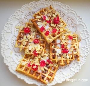 AJ Cherry Bakewell Waffles