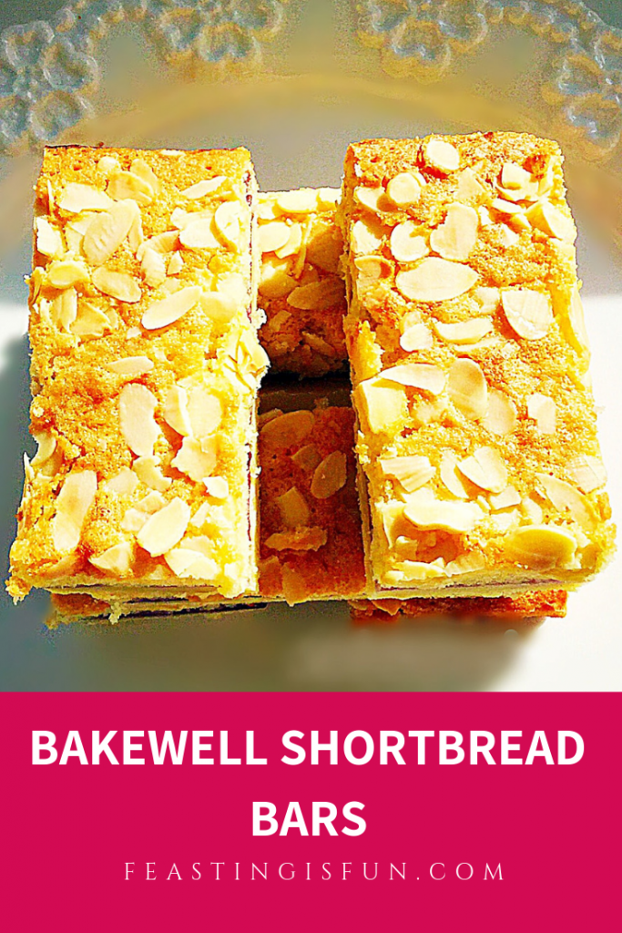 Flaked almond tops almond sponge followed by raspberry jam and a shortbread base. Cut into bars that are ideal for picnics and packed lunches.