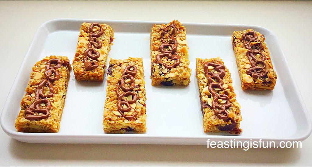 Vegan flapjacks on a white platter.