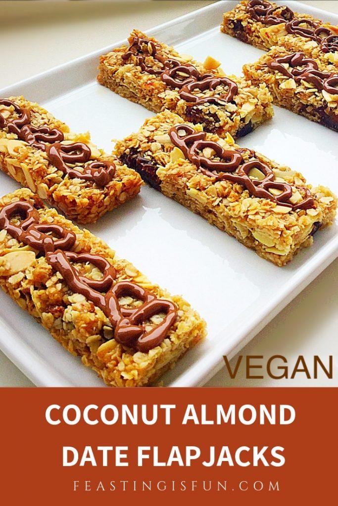 Vegan flapjacks sized for Pinterest with descriptive graphics