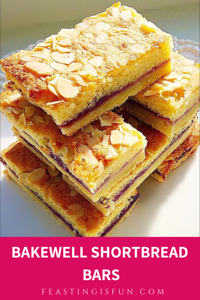 A stack of biscuit based baked treats with descriptive graphics for Pinterest