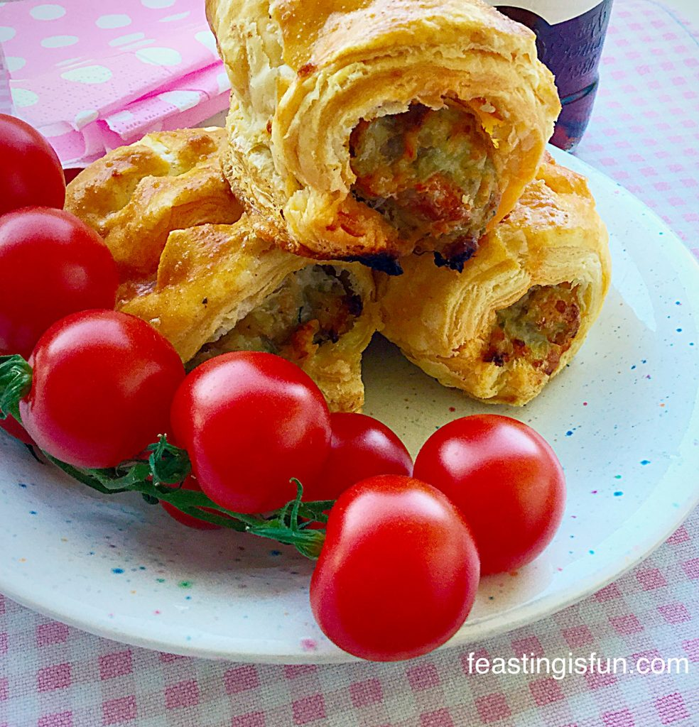 Spicy Sausage Rolls are great with a handful of cherry tomatoes off the vine.