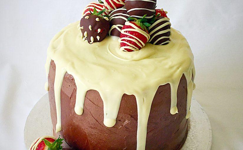 Strawberry Chocolate Vanilla Drip Cake