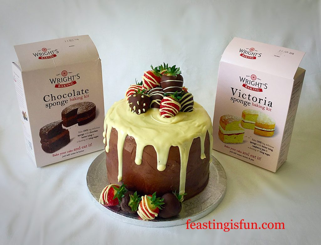FF Strawberry Chocolate Vanilla Drip Cake