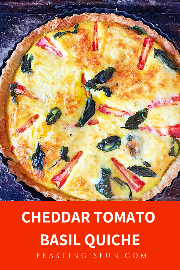 Pinterest sized image of quiche with descriptive graphics.