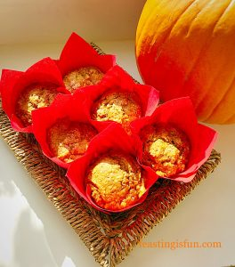 Spiced pumpkin walnut muffins in a basket.