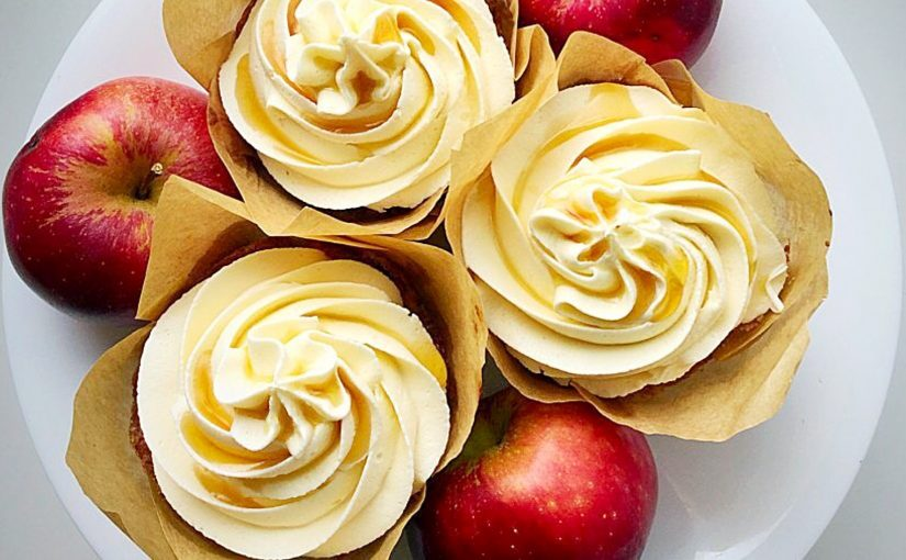 Maple Syrup Frosted Apple Cupcakes
