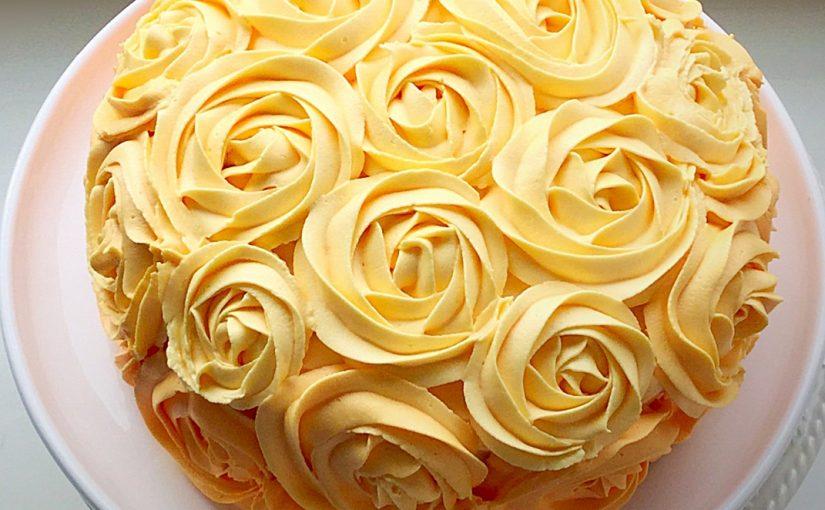 Orange Lemon Ombre Piped Rose Cake