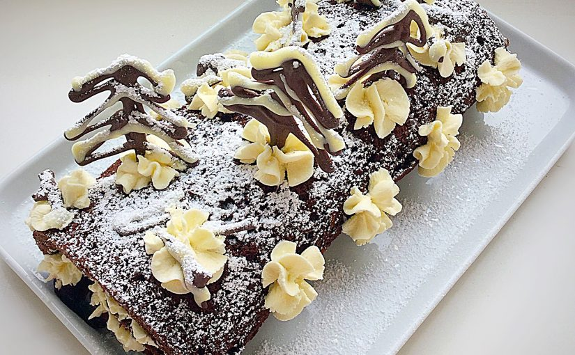 Snowy Black Forest Roulade